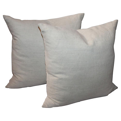 Double-Sided Beige Linen Pillows, Pair