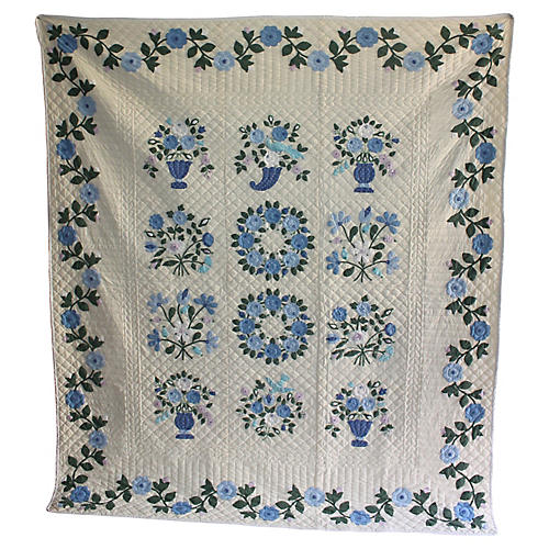 Hand-Stitched Floral Patterned Quilt