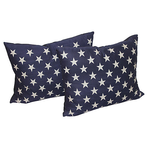 Blue and White Star Pillows, Pair