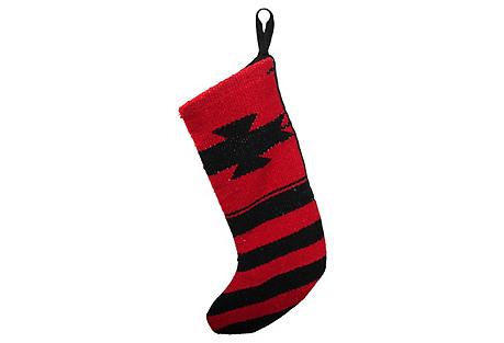 Black & Red Navajo-Style Stocking