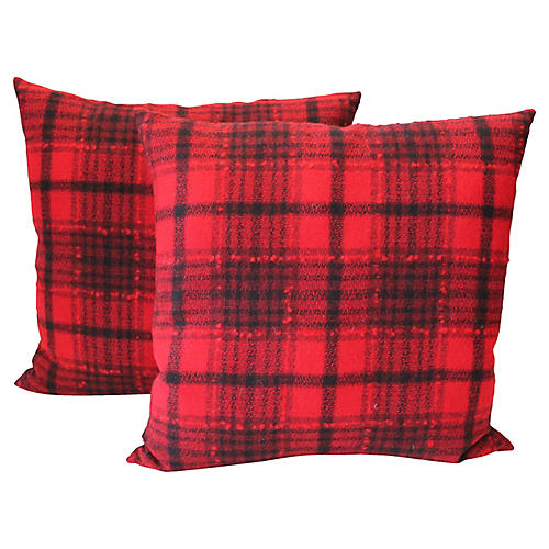 Buck Plaid Pillows, Pair