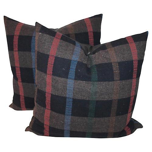 Plaid Pillows, Pair
