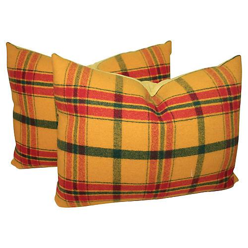 Yellow Plaid Pillows, Pair