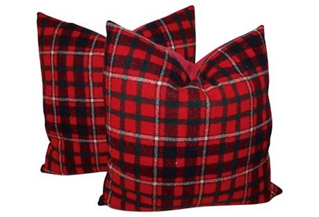 Red & Black Plaid Pillows