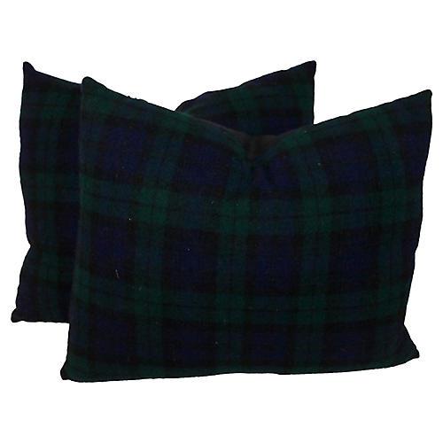 Blue & Green Plaid Pillows
