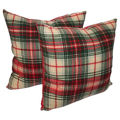 Red & Green Plaid Pillows, Pair