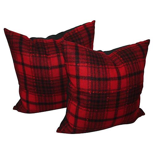 Red & Black Plaid Pillows, Pair
