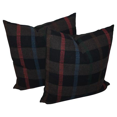 Thick Striped Plaid Pillows, Pair