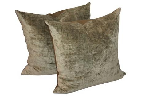 Sage Plaid Pillows, Pair