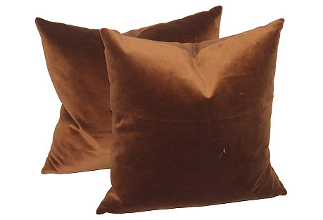 Brown Velvet Pillows, Pair