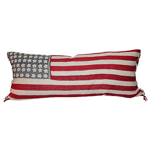 American Flag Crochet Lumbar Pillow
