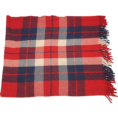 Striped Red, Blue & White Plaid Blanket