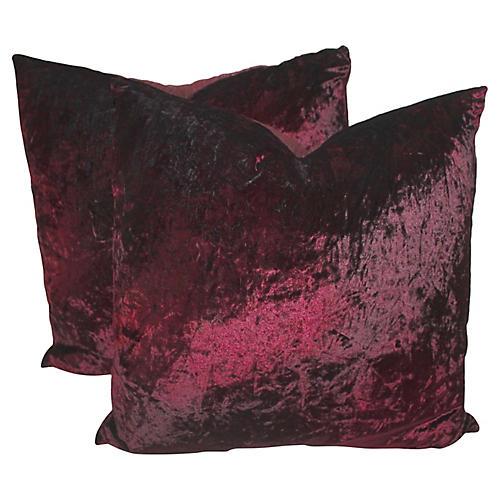 Burgundy Velvet Pillows