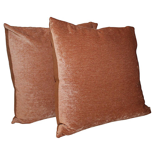 Peach Velvet Pillows, Pair