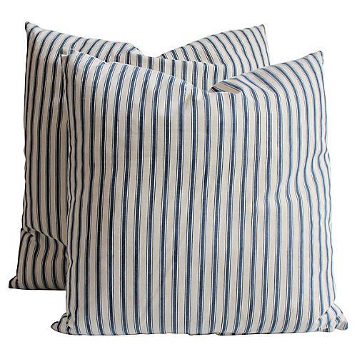 Blue & White Ticking Pillows, Pair