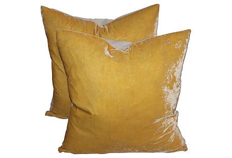 Yellow Velvet Pillows, Pair