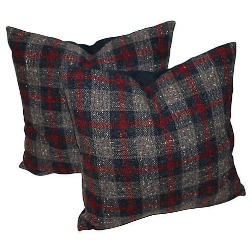 Plaid Gray Pillows, Pair