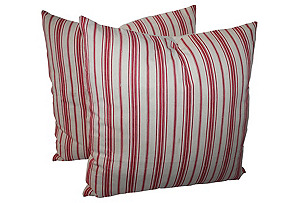 Striped Ticking Pillows, Pair