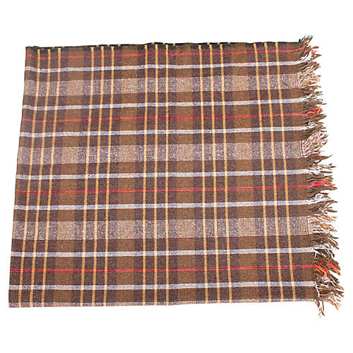Thick Plaid Blanket with Fringe