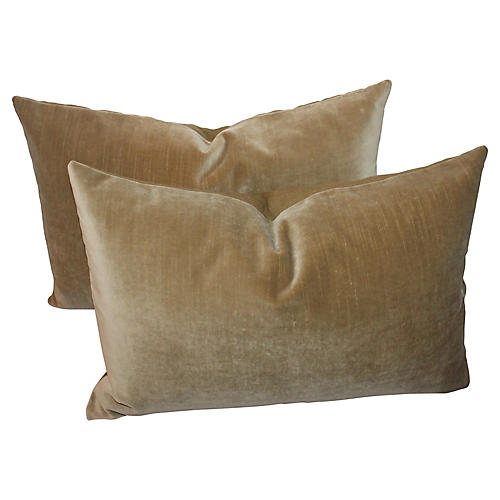 Velvet Lumbar Pillows, S/2