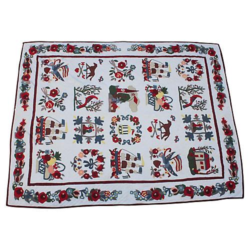 20th-Century Handmade Appliqué Quilt