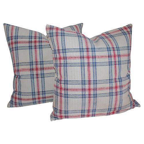 Red & Blue Linen Pillows, Pair