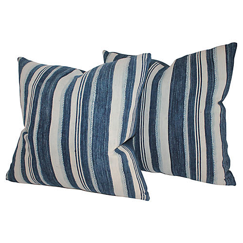 Blue & White Striped Pillows, Pair
