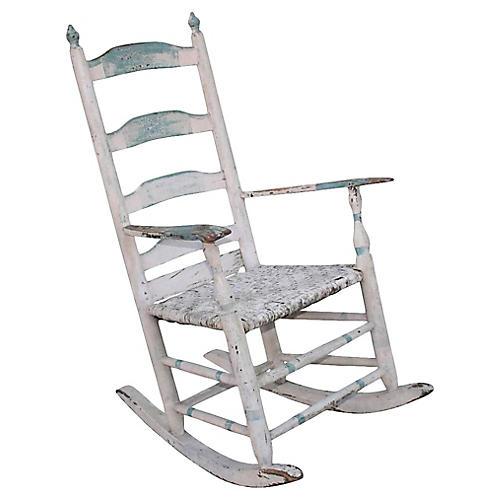 19th-C. Blue & White Rocking Chair