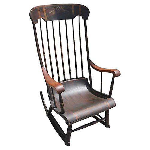 19th-C. Original Decorated Boston Rocker