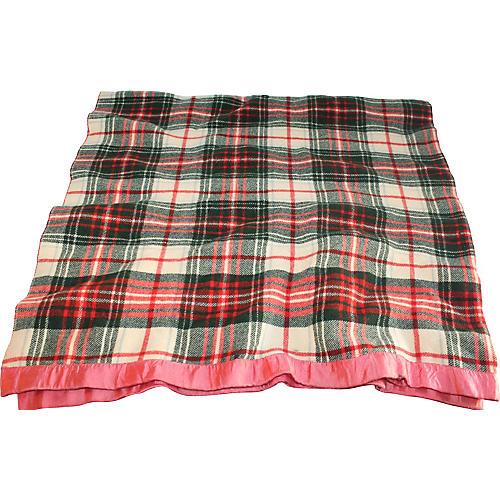 Plaid Blanket w/ Pink Vinyl Border