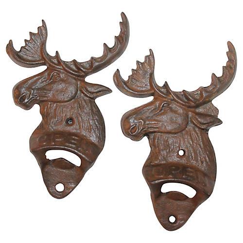 Iron Moose Bottle Openers, Set of Two