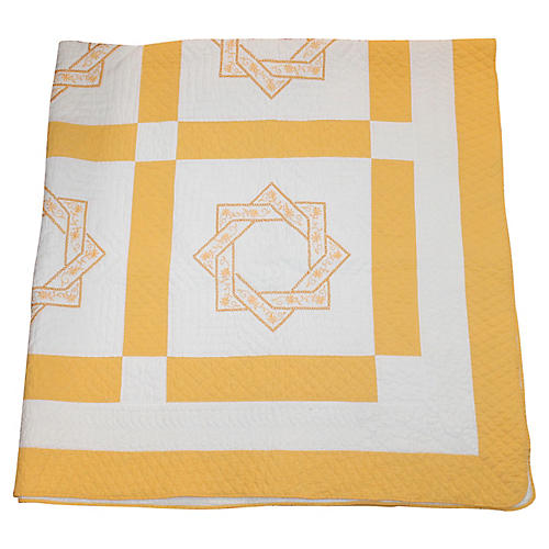 Embroidered Yellow & White Star Quilt