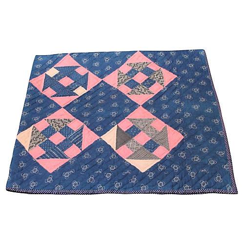 19th-C. Indigo Calico Print Quilt