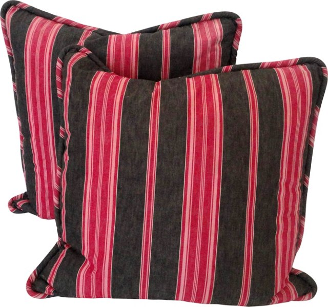 19th-C. Striped Ticking Pillows, Pair
