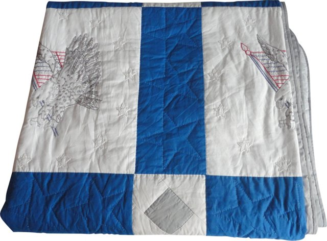 Embroidered  Patriotic Eagle Quilt