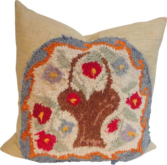 Hooked Rug  Pillow