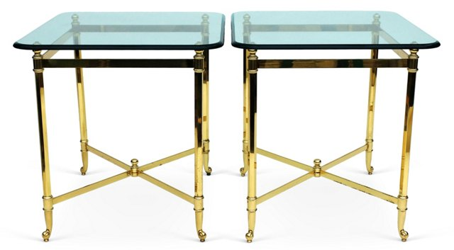 Midcentury Brass & Glass  Tables, Pair
