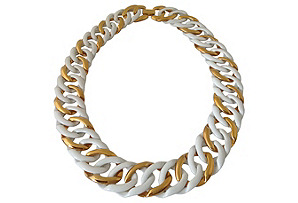 White Enamel & Goldtone Link Necklace