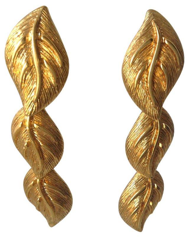 Napier Goldtone Leaf Drop Earrings