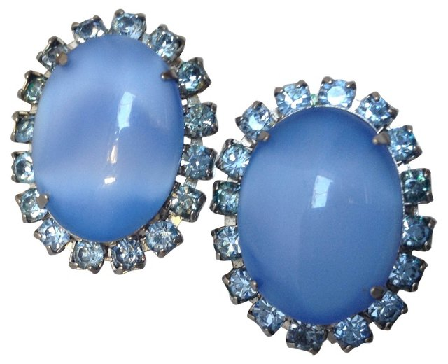 Blue Moonstone & Rhinestone Earrings