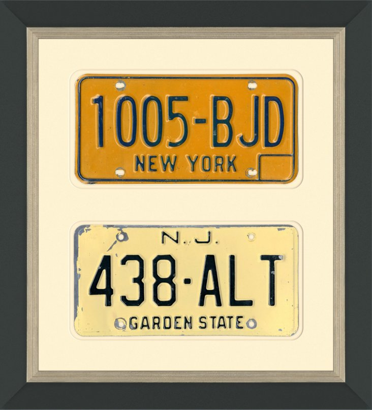Framed NY & NJ License Plates