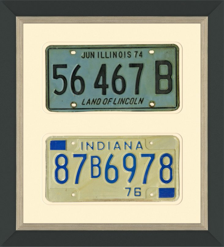 IL & IN License Plates, Pair