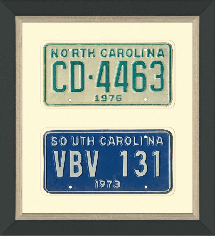 NC & SC License Plates, Pair