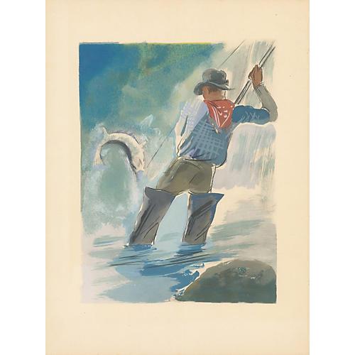 Uzelac Fishing Print, 1932