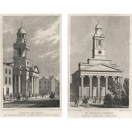 Views of London Prints V, Pair, 1827