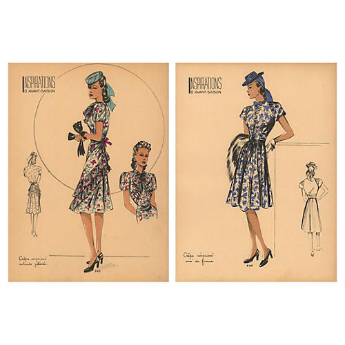 Pair of French Fashion Prints, 1940