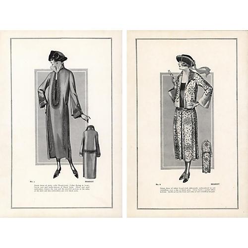 Haute Couture Fashion Prints, Pair, 1922