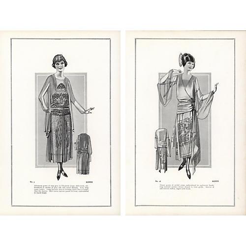 HauteCouture Fashion Prints, Pair, 1922