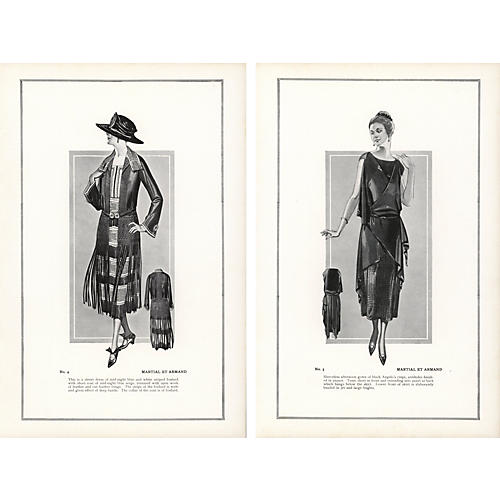 Haute Couture FashionPrints, Pair, 1922