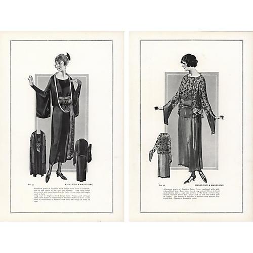 Haute Couture Fashion Prints, 1922, Pair